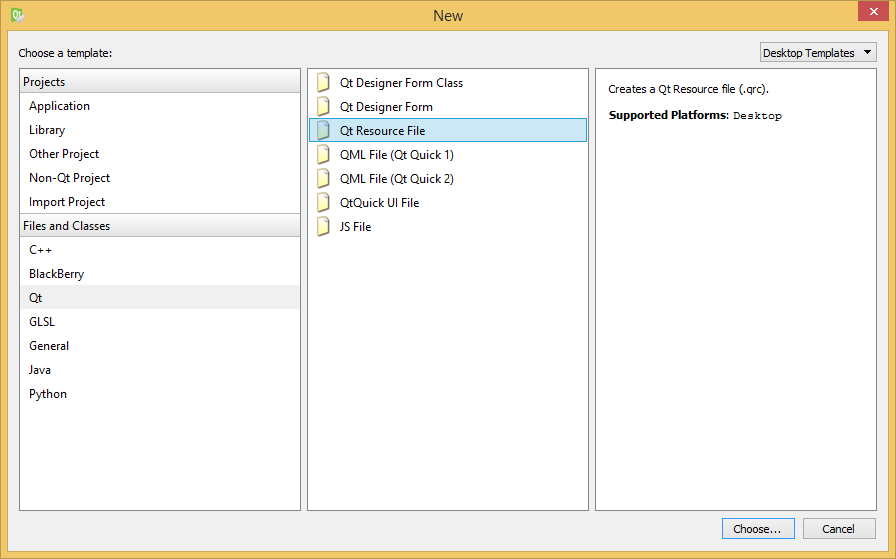 Creating a new resource file.
