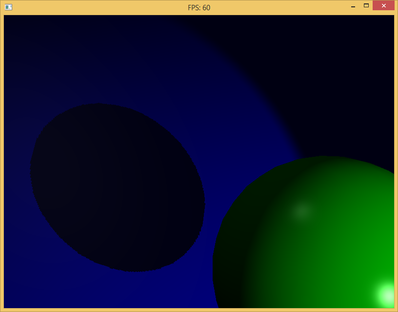 Notice the hard shadow casted by the sphere? It's jarring compared to the spotlight's falloff.